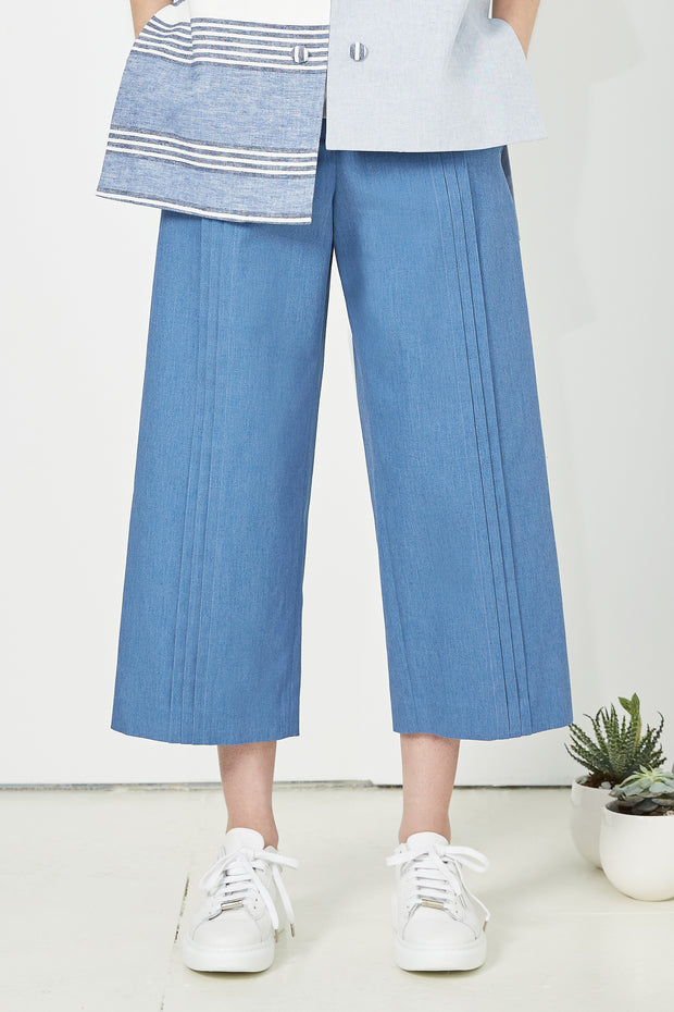 Pleated Denim Culottes