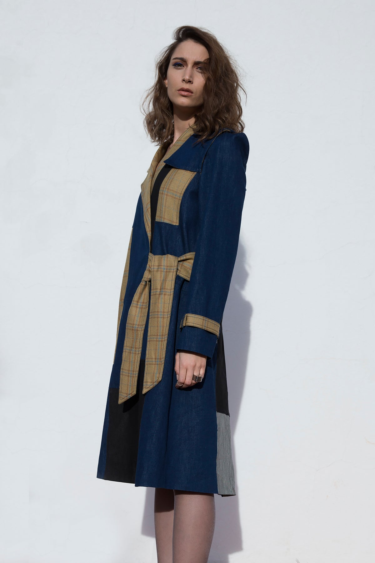 Patchwork Trench Coat With Removable Sleeves