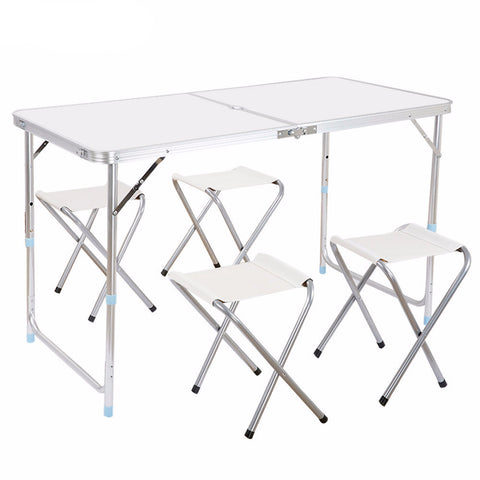 Aluminum Folding Camp Table and Stool Set