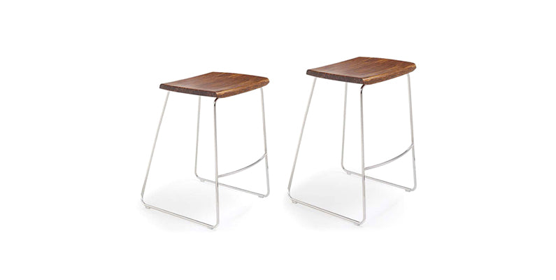 City Lights Backless Exotic Cognac and Steel Bar Stool