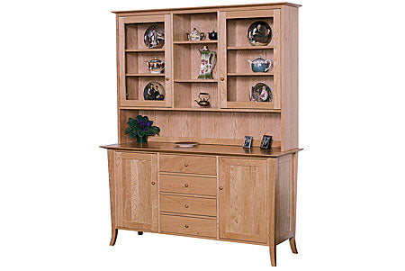 Flare Leg Four Drawer Buffet and Hutch