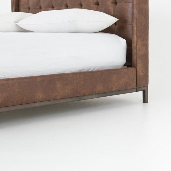Four Hands Newhall Bed in Tobacco Leather