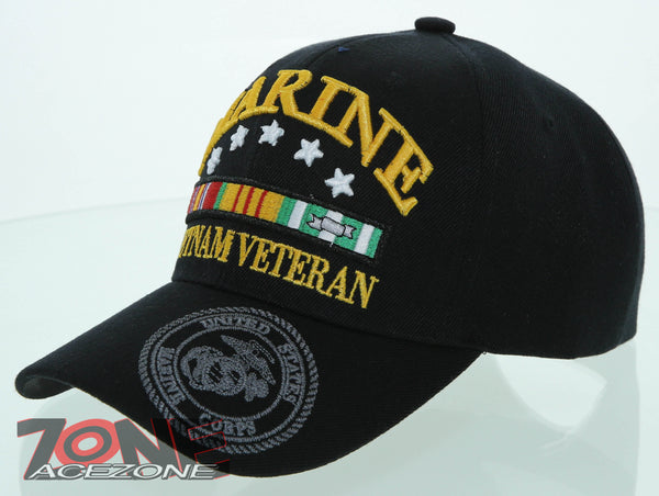 49c8482a9 NEW! USMC US MARINE VIETNAM VETERAN SHADOW CAP HAT BLACK