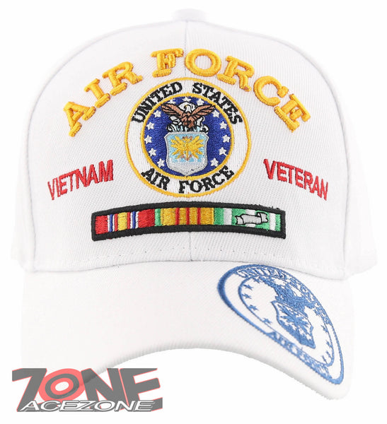 NEW! US AIR FORCE USAF VIETNAM VETERAN RIBBON BAR CAP HAT WHITE