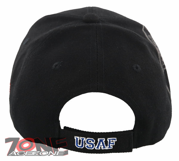 4585894d570 NEW! US AIR FORCE USAF WING RETIRED LEAF SHADOW CAP HAT BLACK ...