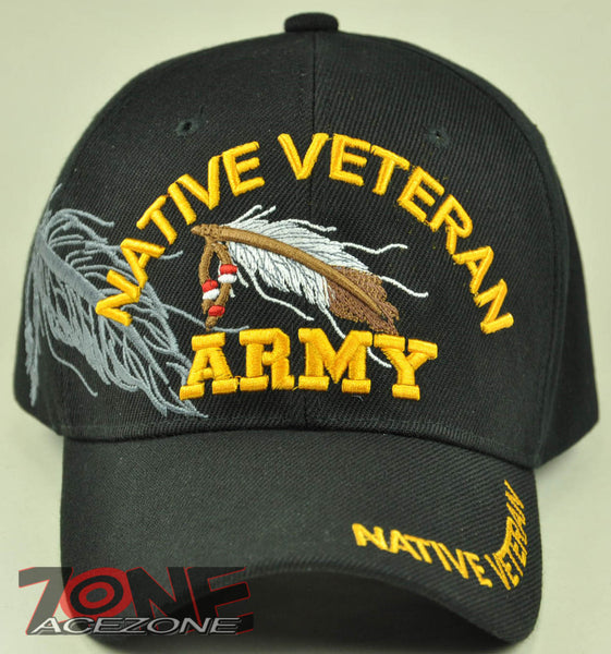 NEW! US ARMY NATIVE VETERAN AMERICAN US ARMY VETERAN CAP HAT BLACK