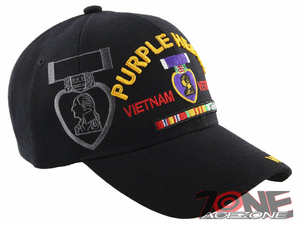 NEW! PURPLE HEART COMBAT WOUNDED MILITARY VIETNAM VETERAN BALL CAP HAT