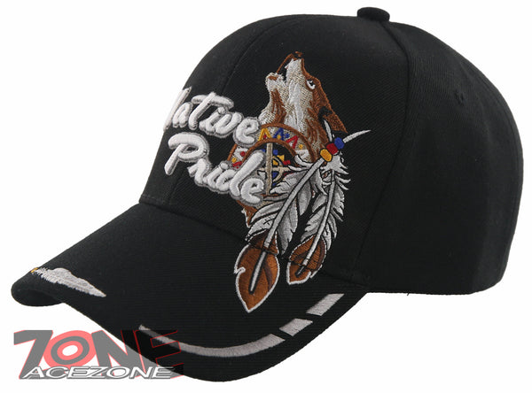 a8ae6c248 NEW! NATIVE PRIDE INDIAN AMERICAN WOLF SIDE FEATHERS CAP HAT BLACK