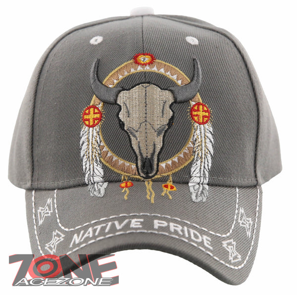 dc77643eb029f NEW! NATIVE PRIDE INDIAN AMERICAN FEATHERS BUFFALO SKULL CAP HAT ...