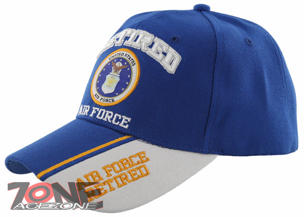 07f251ef244 NEW! USAF AIR FORCE RETIRED SIDE LINE BALL CAP HAT BLUE – AceZone.com