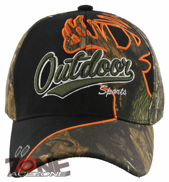 OUTDOOR SPORTS DEER SHADOW HUNTING BALL CAP HAT BLACK GREEN FOREST CAMO