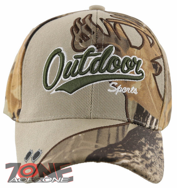 OUTDOOR SPORTS DEER SHADOW HUNTING BALL CAP HAT TAN SAND FOREST CAMO
