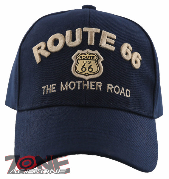 a5b14b733e701 NEW! US ROUTE 66 THE MOTHER ROAD METAL ROUTE 66 BALL CAP HAT NAVY ...