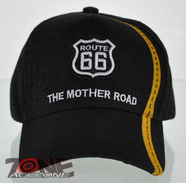 131c8714fe7c6 NEW! US ROUTE 66 THE MOTHER ROAD SIDE ROUTE BALL CAP HAT BLACK ...