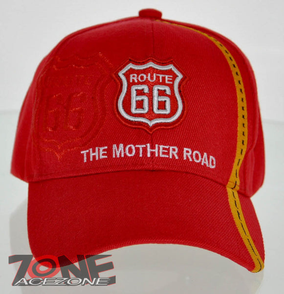 ea824db0faea1 NEW! US ROUTE 66 THE MOTHER ROAD SIDE ROUTE BALL CAP HAT RED ...