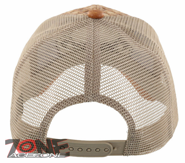 STRAW MESH METAL SKULL HORN FAUX LEATHER BALL CAP HAT TAN NEW