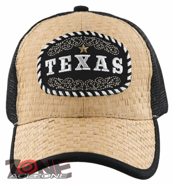 NEW STRAW MESH TEXAS STAR FAUX LEATHER BALL CAP HAT TAN
