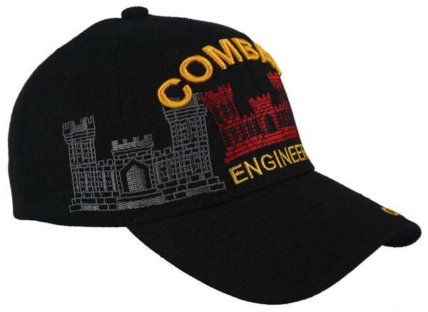 NEW! US ARMY COMBAT ENGINEER SHADOW RED BALL CAP HAT BLACK