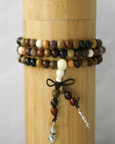 Mixed Sandalwood Prayer Beads w/ Tassel