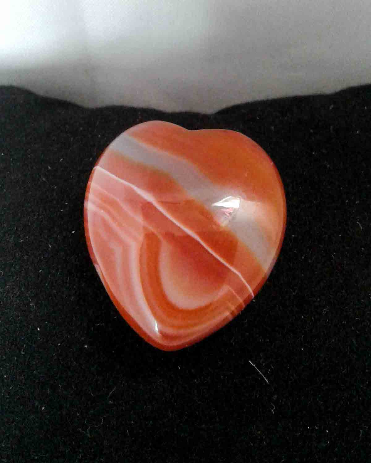 striped agate crystal heart meditation stone