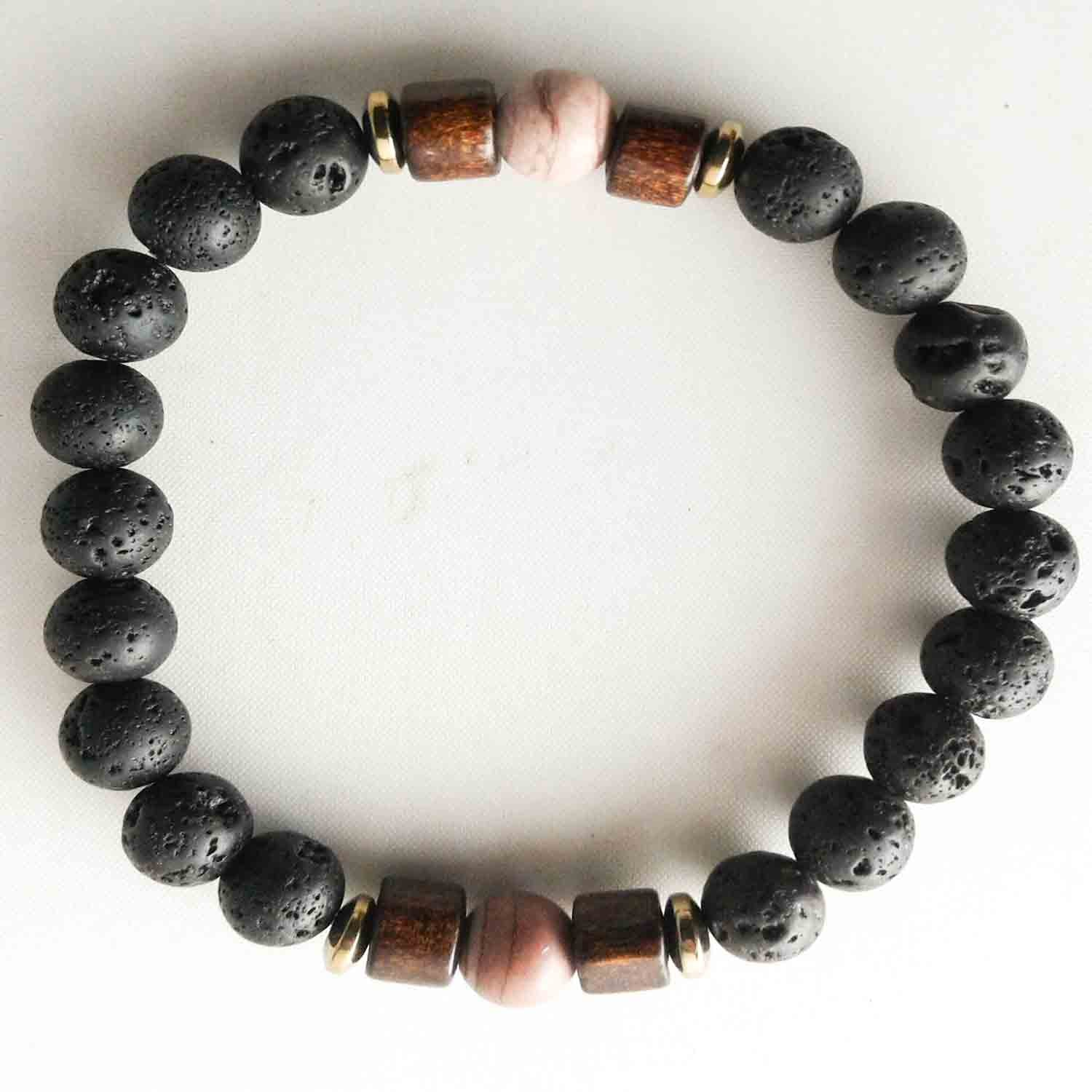 agate and lava stone bracelet set for couples