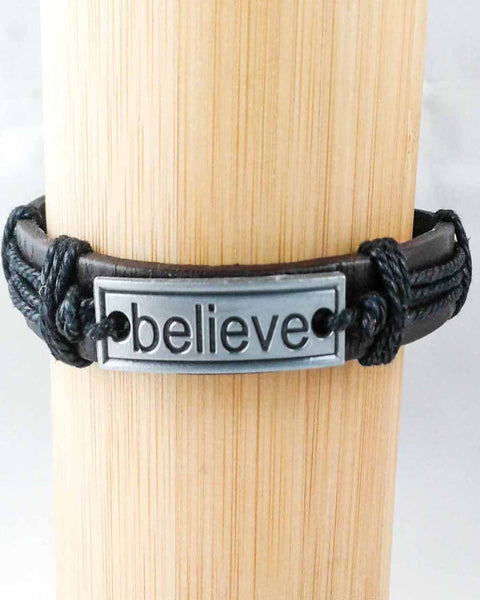 believe leather bracelet