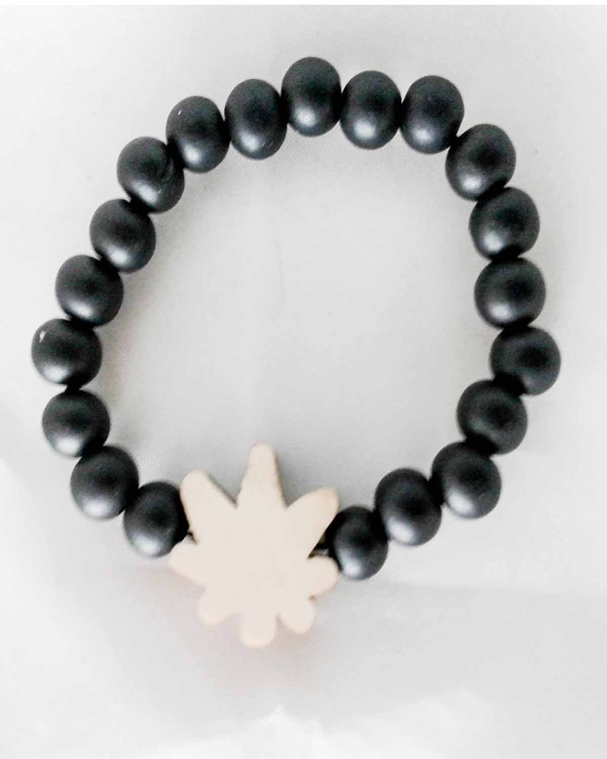 Black Wooden Bead Cannabis Leaf Bracelet
