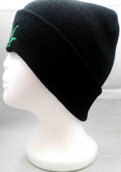 black beanie with green pot leaf