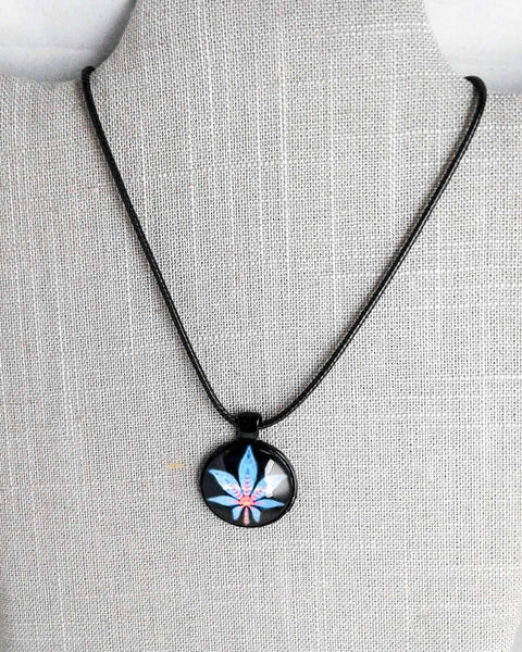 black and rainbow cabochon necklace