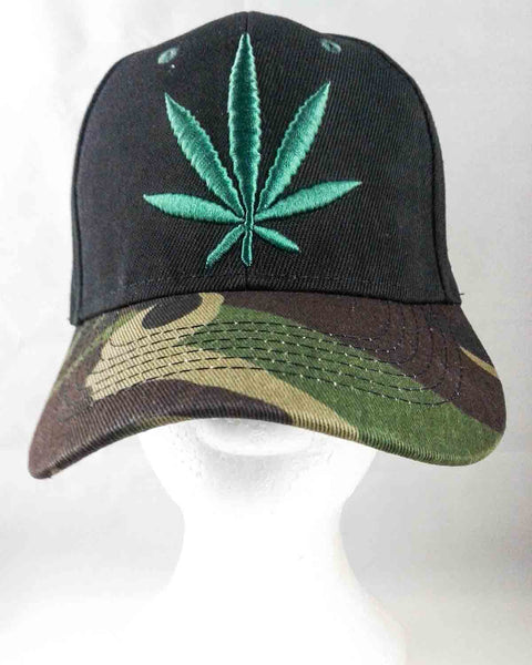 black and camouflage pot leaf baseball hat