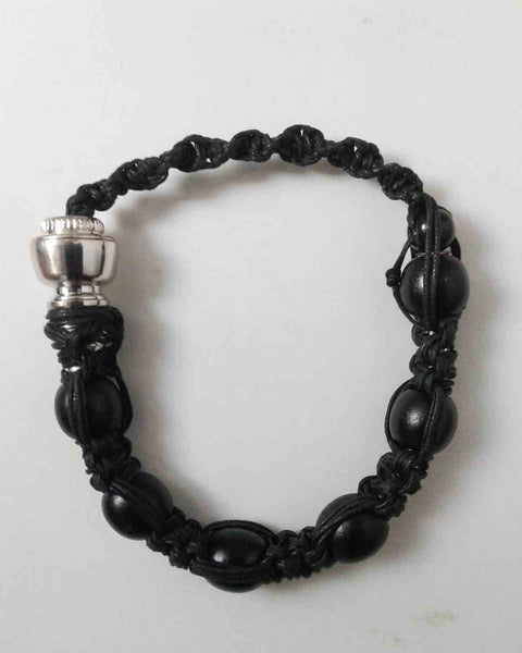 Large Black Beaded Rope Bracelet