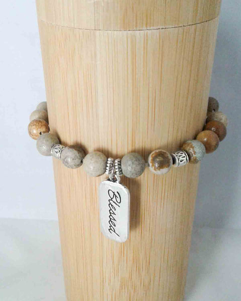 jasper bead blessed stretch bracelet