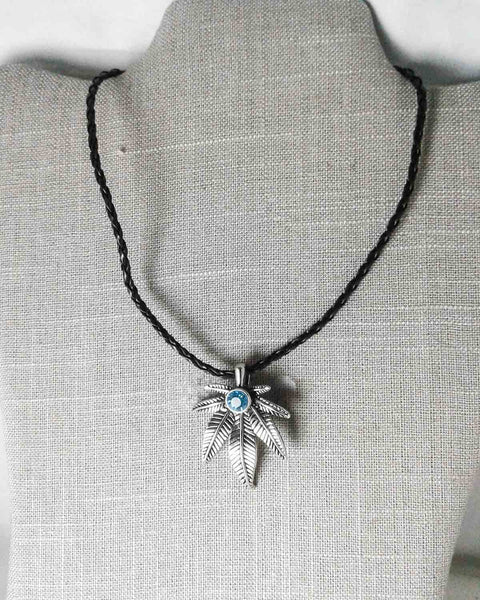 blue and silver pot leaf leather necklace