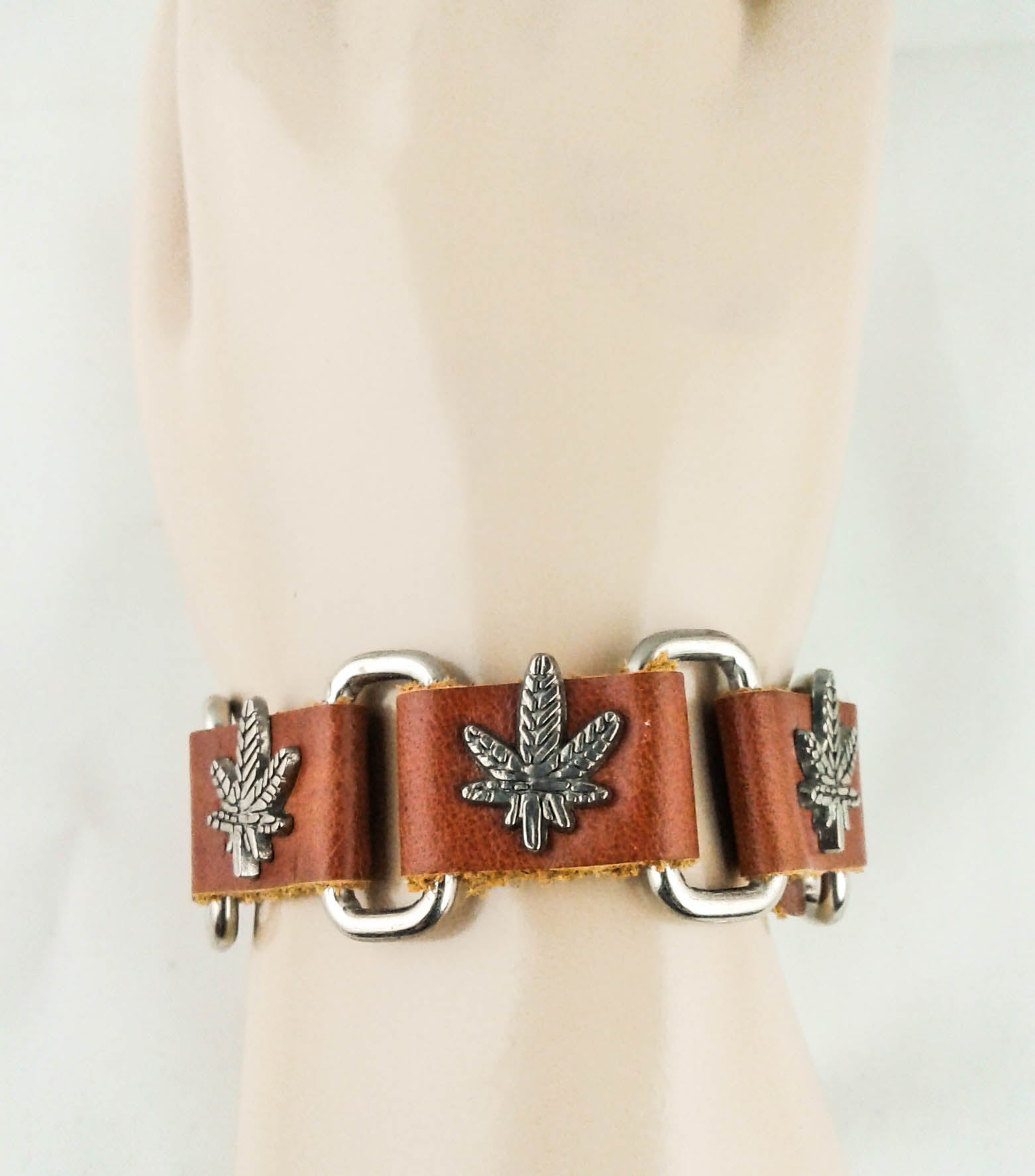 light brown leather pot leaf chain bracelet