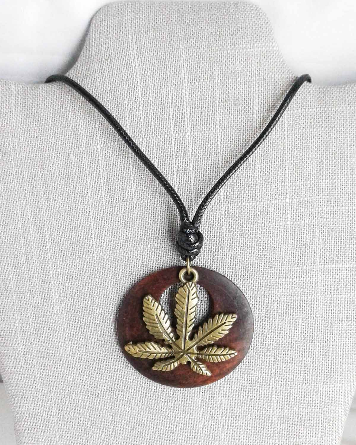 brown wood and pot leaf sweater necklace