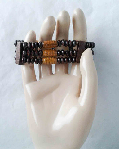 Triple Beaded Wood Bracelet Brown