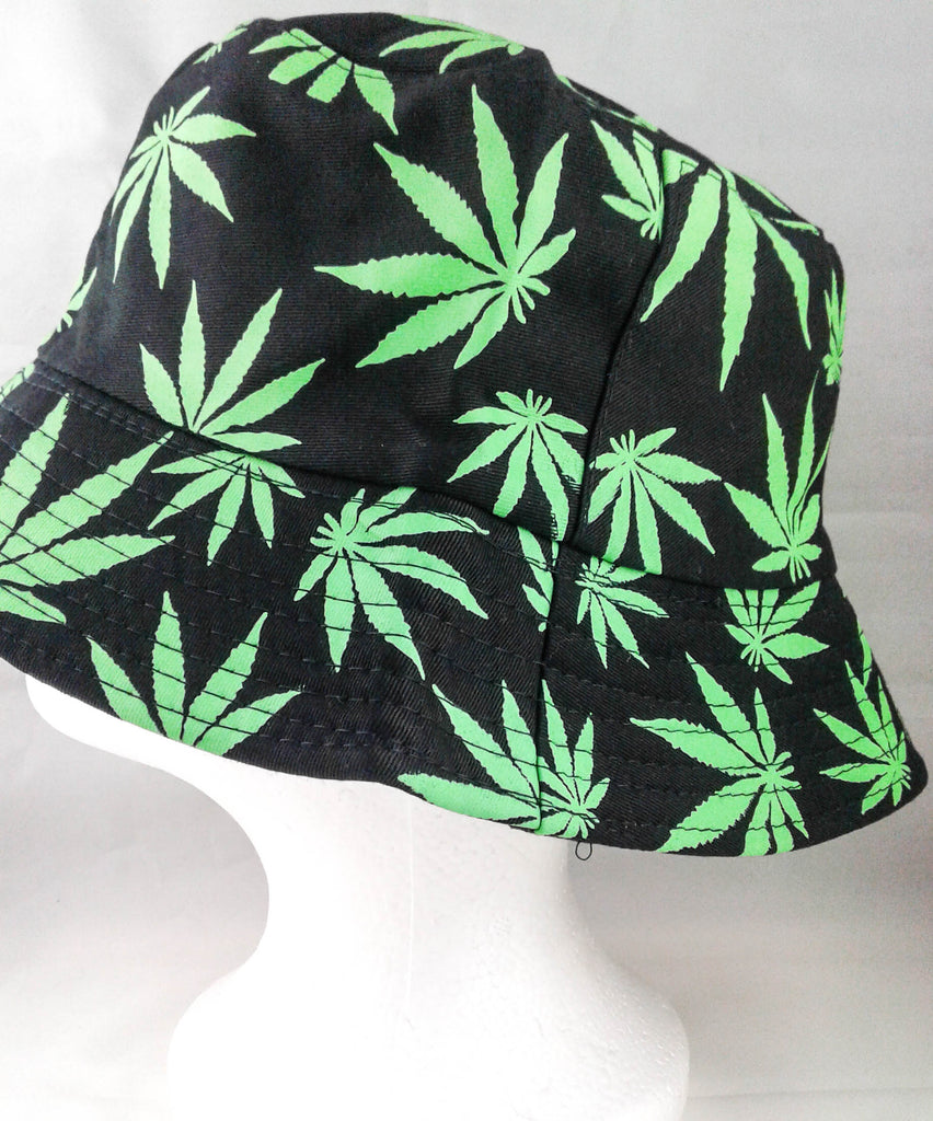 black and green pot leaf bucket hat