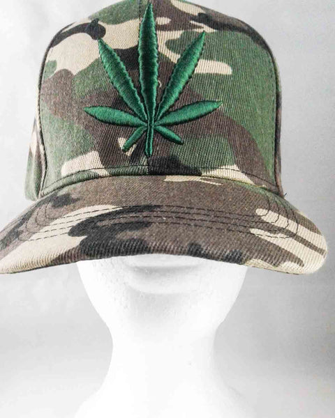 green camo pot leaf baseball cap