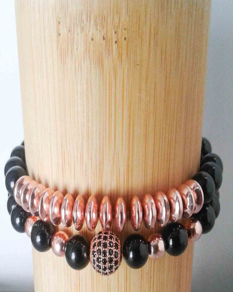 Couples Black Bead & Rose Pave Bracelet Set