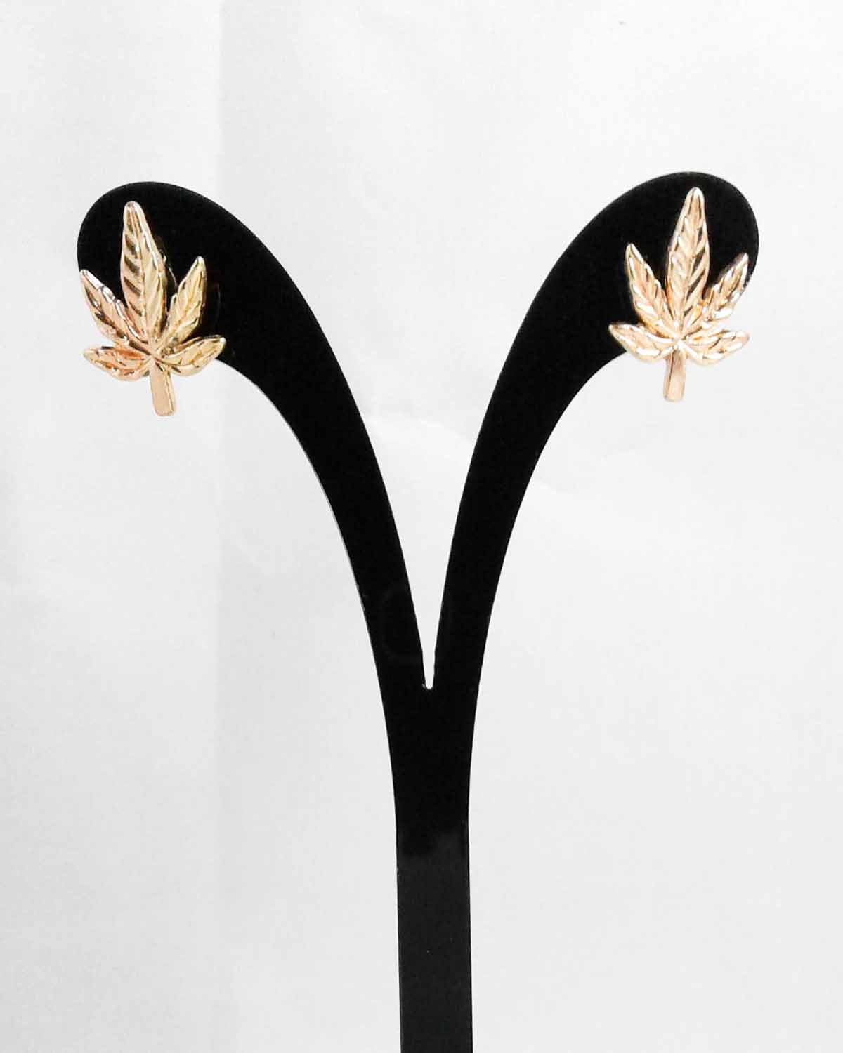 GoldTone Cannabis Leaf Stud Earrings