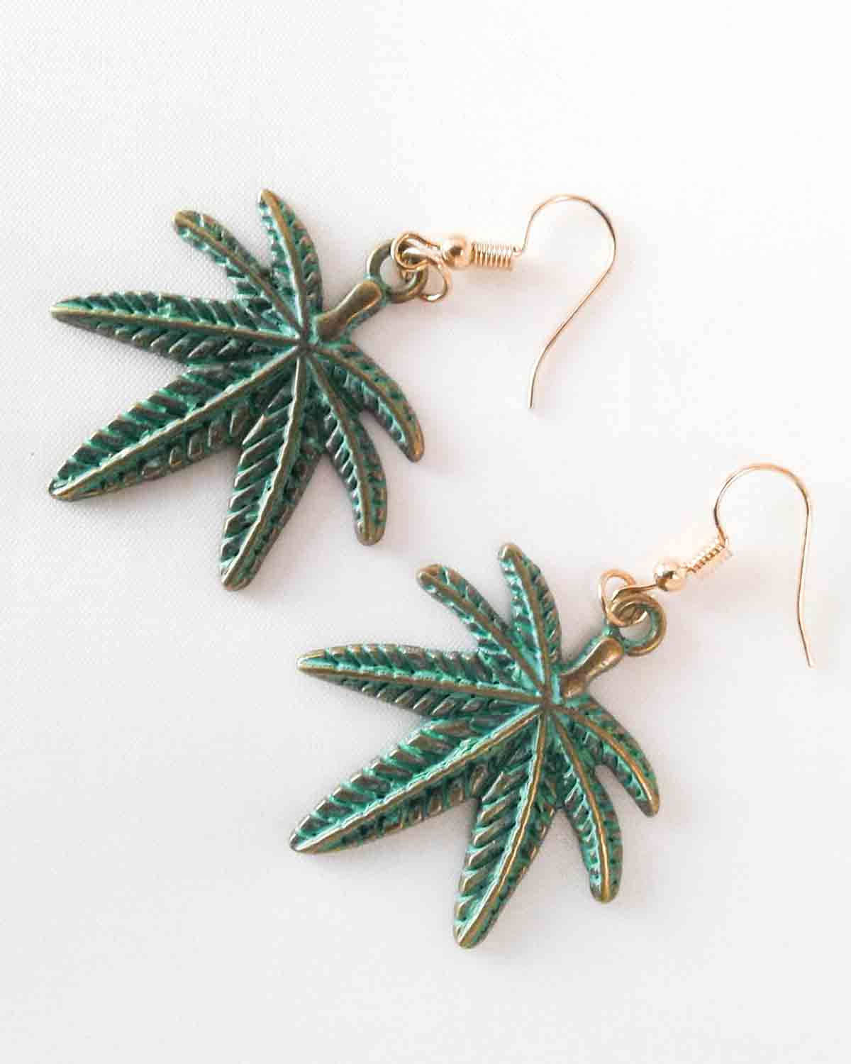 pot leaf hook earrings