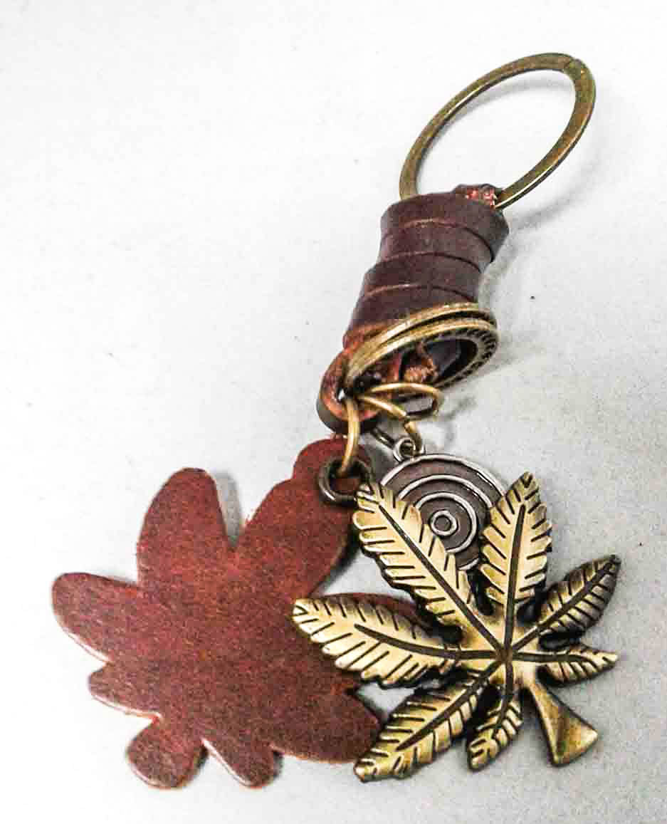 Leather Cannabis Leaf Charm KeyRing