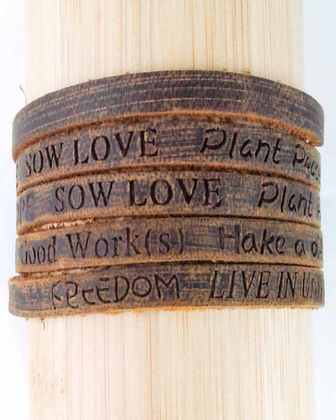 Positive Phrase Leather Wrap Bracelet