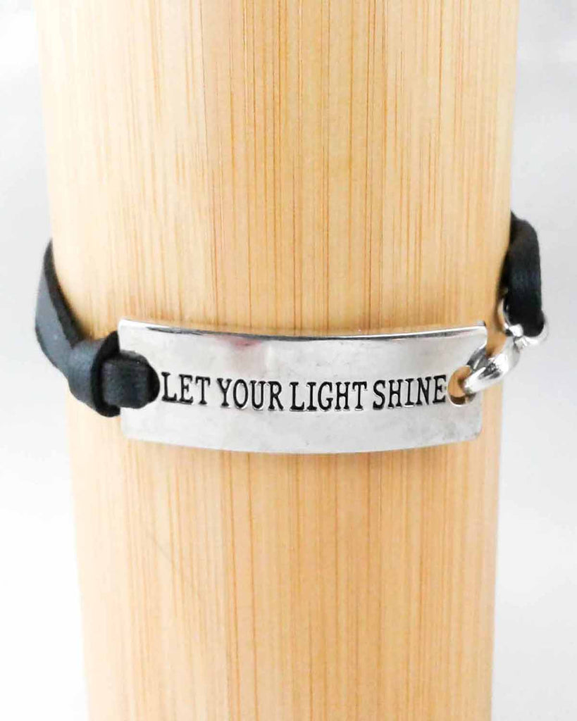Let Your Light Shine Metal and Leather Bracelet