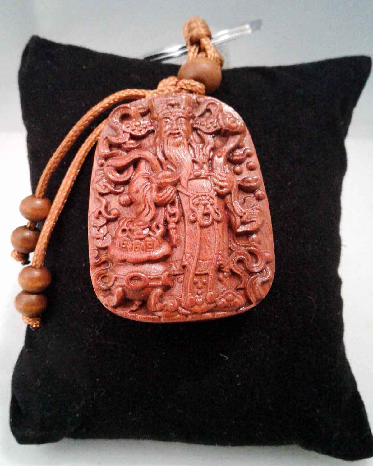 God of wealth engraved wood keyring