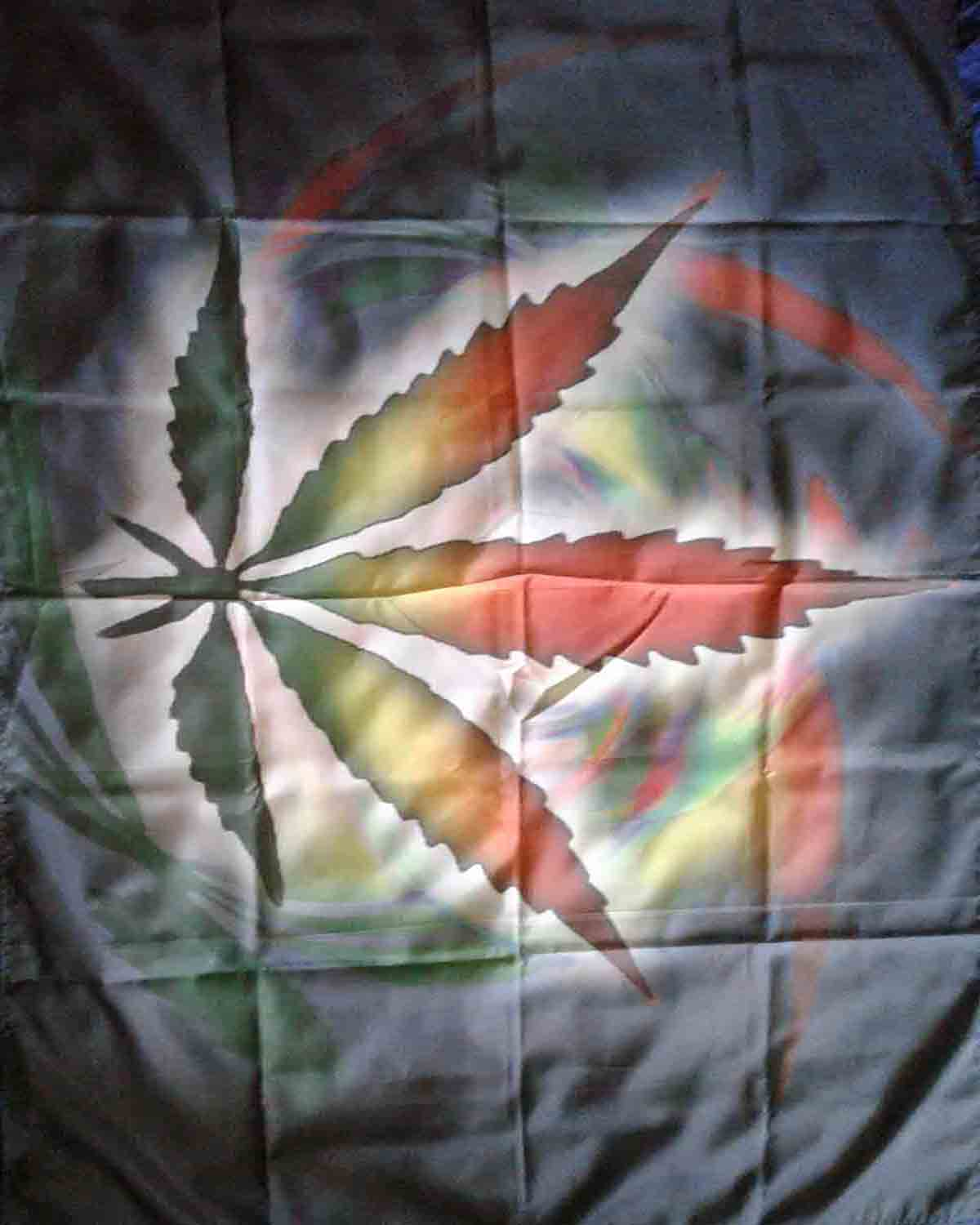Rainbow Cannabis Leaf Wall Flag
