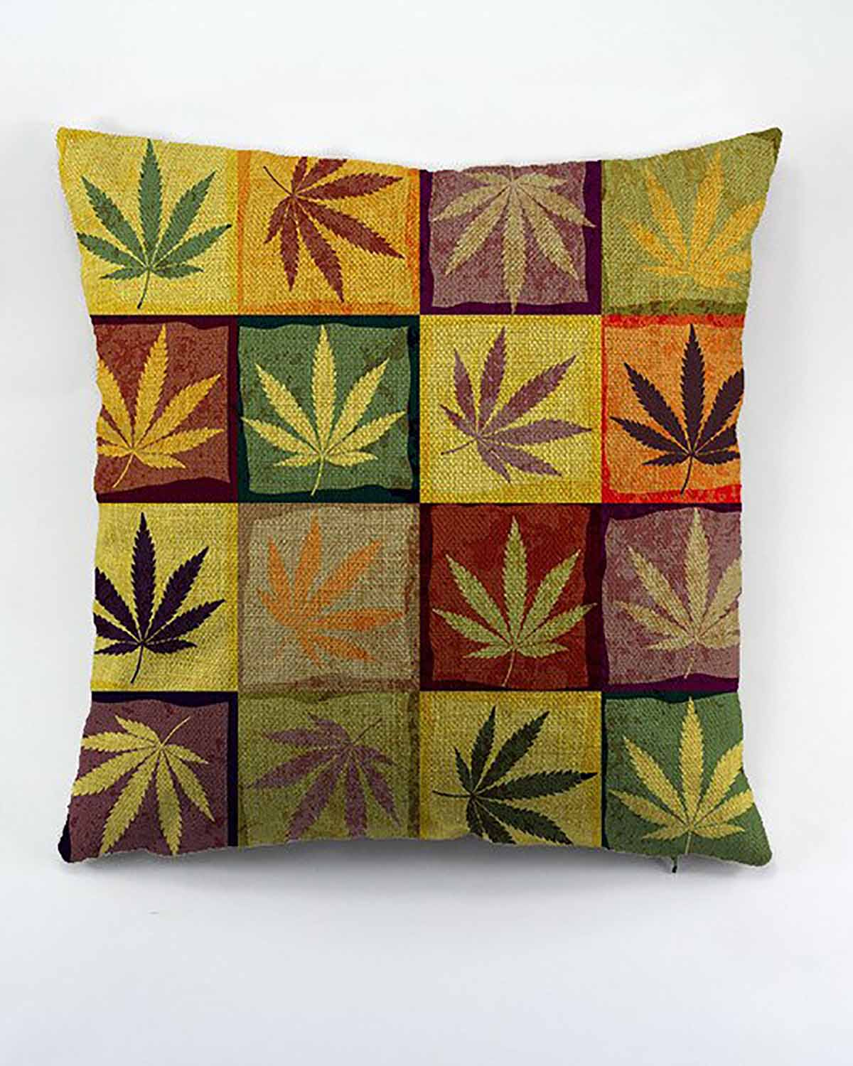 Colorful Cannabis Leaf Pillow Cover