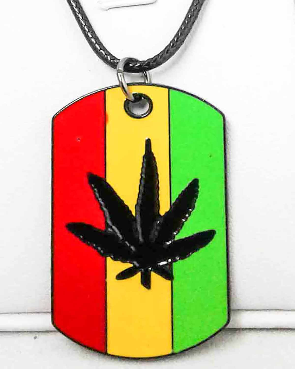rasta pot leaf dog tag necklace