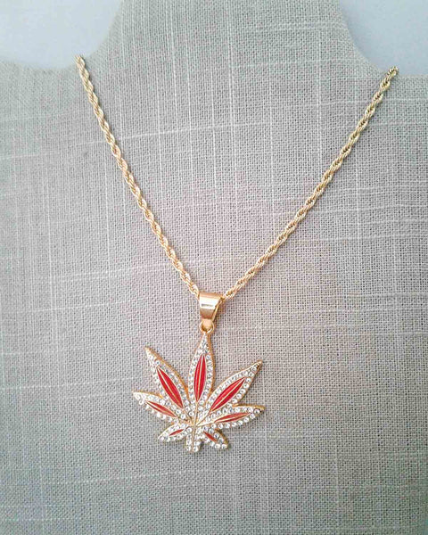 Red & Golden Crystal Cannabis Leaf Pendant