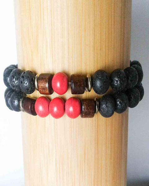 Couples Lava Stone & Red Bead Bracelet Set